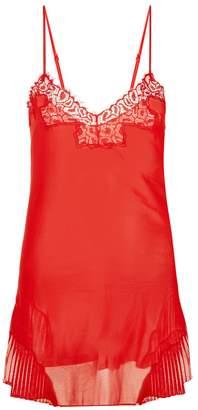 La Perla Quartz Garden Scarlet Silk Chiffon Slip With Leavers Lace Detail And Pleats