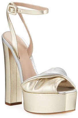 Giuseppe Zanotti Metallic Leather Platform Sandals