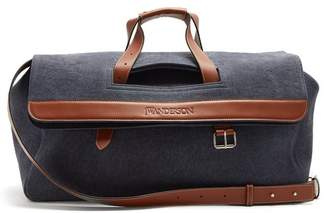 Leather-trimmed denim holdall