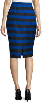 Michael Kors Striped Slim Pencil Skirt, Black/Blue