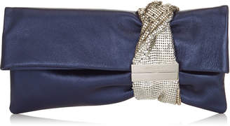 Jimmy Choo CHANDRA Navy Metallic Nappa Clutch Bag with Chainmail Bracelet