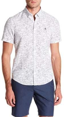 Original Penguin Shark Print Short Sleeve Oxford Heritage Slim Fit Shirt