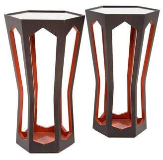 Donghia Pair of Hexagonal Side Tables