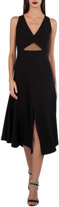 Akris V-Neck Sleeveless Cutout-Waist Techno-Stretch Dress