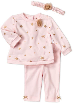 Little Me Newborn/Infant Girls) 3-Piece Stars Sweatshirt Top & Pants Set