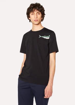 Paul Smith Men's Slim-Fit Black 'Mackerel' Print T-Shirt