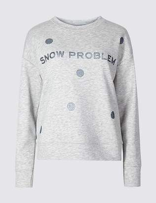 Marks and Spencer Cotton Blend Snowflake Christmas Sweatshirt