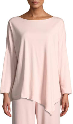 Joan Vass Oversized Long-Sleeve Pullover w/ Asymmetric Hem