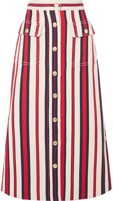 Gucci Striped Denim Midi Skirt - Red