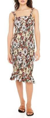 Faithfull The Brand Maya Floral Print Smocked Midi Dress
