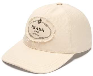 Prada Logo Patch Cotton Baseball Cap - Mens - Cream