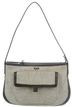 Anya Hindmarch Leather-Trimmed Shoulder Bag Black Leather-Trimmed Shoulder Bag