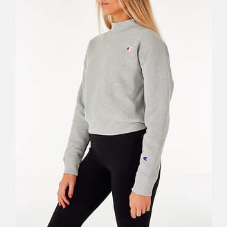 Champion Women's Reverse Weave Mock Neck Crop Sweatshirt