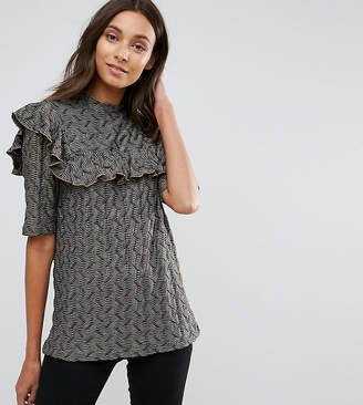 Y.A.S Tall Jacquard Top With Frill Detail