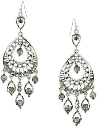 1928 Jewelry Silver-Tone Gray Filigree Statement Teardrop Earrings