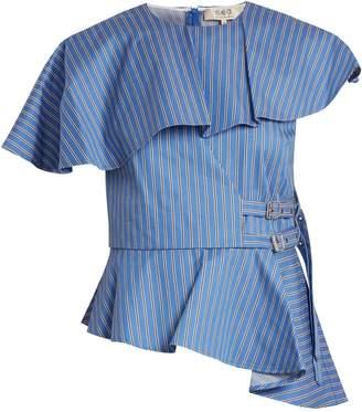 Sea Striped strap-side cotton-twill top