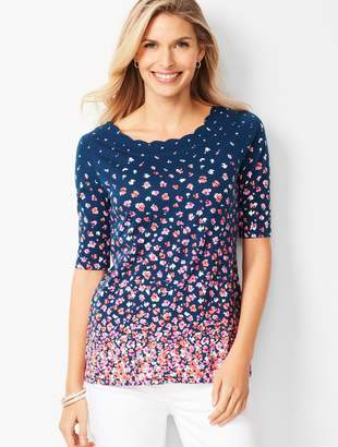 Talbots Pima Scallop-Edge Tee - Cascading Floral