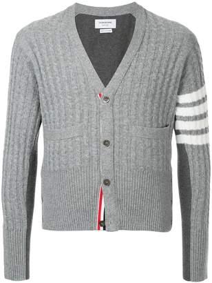 Thom Browne Trompe L'oeil V-Neck Cardigan Pullover W/ White 4-Bar Stripe In Cashmere