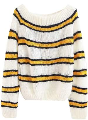 Goodnight Macaroon 'Roma' Off The Shoulder Striped Mohair Sweater (2 Colors)