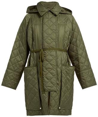 Burberry Coleraine Single Breasted Quilted Shell Coat - Womens - Green