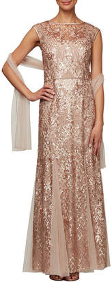 Alex Evenings Long Sequin Embroidered Fit-and-Flare Dress with Shawl