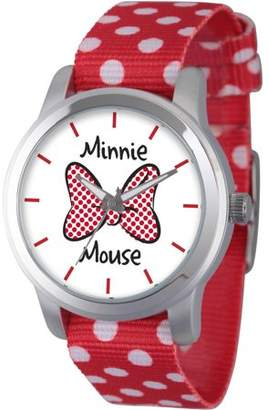 Disney Disney, Minnie Mouse Bow Women's Silver Alloy Watch, Double-Sided Red Polka Dot and Solid Red Nylon Strap