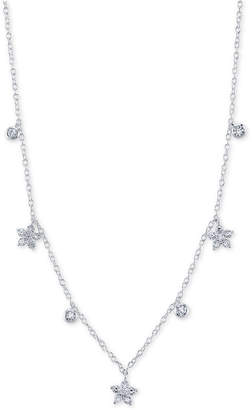 "Unwritten Cubic Zirconia Star & Bezel Chain Necklace in Sterling Silver, 16"" + 2"" extender"
