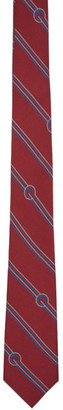 Gucci Red Silk Diagonal Stripes and G Tie