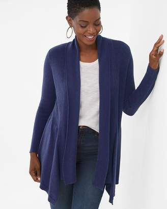 Chico's Chicos Mixed-Stitch Drape-Front Cardigan
