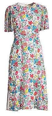 Elie Tahari Women's Sabrina Floral Butterfly Sleeve A-Line Dress