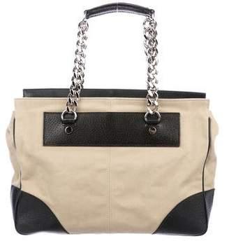Balenciaga Leather-Trimmed Canvas Handle Bag
