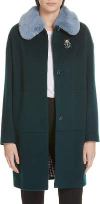 Ted Baker Colour by Numbers Kerensa Faux Fur Trim Wool Mohair Coat