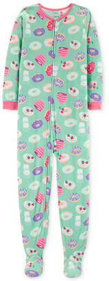 Carter's Carter Little & Big Girls Donut-Print Footed Pajamas