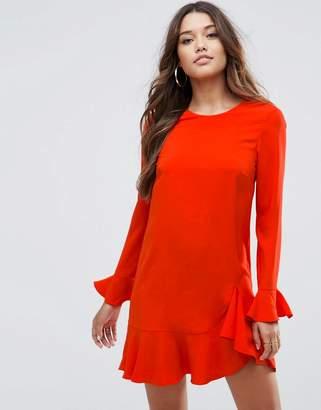 Asos Design Fluted Sleeve Ruffle Hem Mini Dress