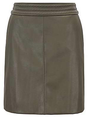 HUGO BOSS A-line miniskirt in faux leather with embroidery detailing