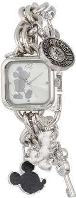 Disney Women's MK2057 Mickey Mouse Sunray Dial Charm Bracelet Watch