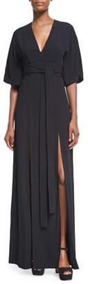 Alexis Mirren V-Neck Slit Maxi Dress, Black