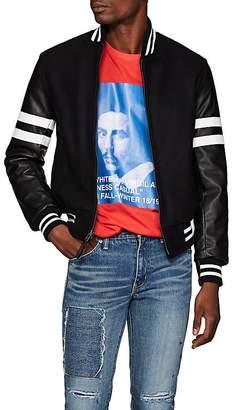 Barneys New York Golden Bear x Men's Striped Wool-Blend & Leather Varsity Jacket