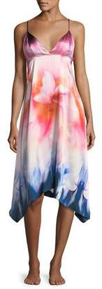 Josie Natori Mirage Print Sleeveless Silk Nightgown