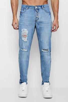 boohoo Skinny Fit Distressed Jeans With Exposed Fly