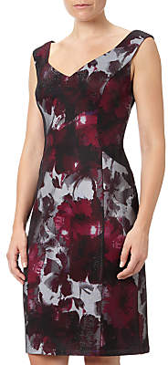 Adrianna Papell Portrait Neck Fitted Sheath Dress, Red/Multi