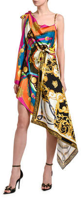 Versace Knotted Silk Cocktail Dress