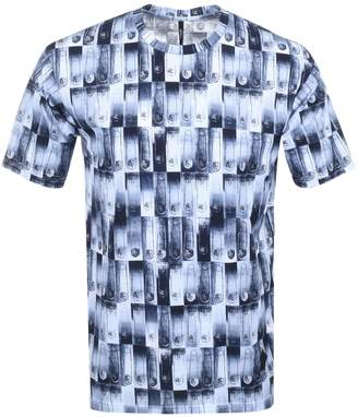 Versace Printed T Shirt Blue