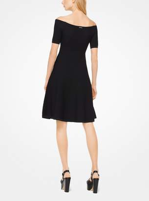 MICHAEL Michael Kors Textured Stretch-Viscose Off-the-Shoulder Dress