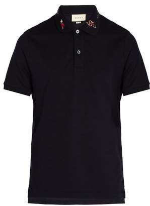 Gucci Embroidered Cotton Pique Polo Shirt - Mens - Navy