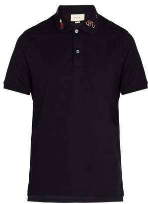 Gucci - Embroidered Cotton Piqué Polo Shirt - Mens - Navy