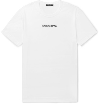 Dolce & Gabbana Slim-Fit Logo-Embroidered Cotton-Jersey T-Shirt - Men - White