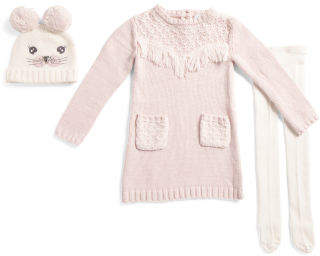 Toddler Girl Fringe Sweater Dress With Tights And Critter Pom Hat