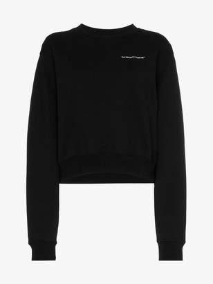 Off-White long sleeve cropped logo print cotton sweatshirt
