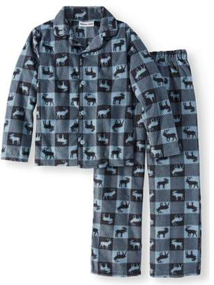 Komar Kids Boys' Moose Plaid Fleece Button Front 2-piece Pajama Sleep Set (Little Boys & Big Boys)